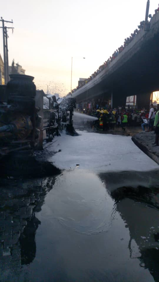 Breaking: NNPC Tanker Bursts Into Flames At Obalende 9