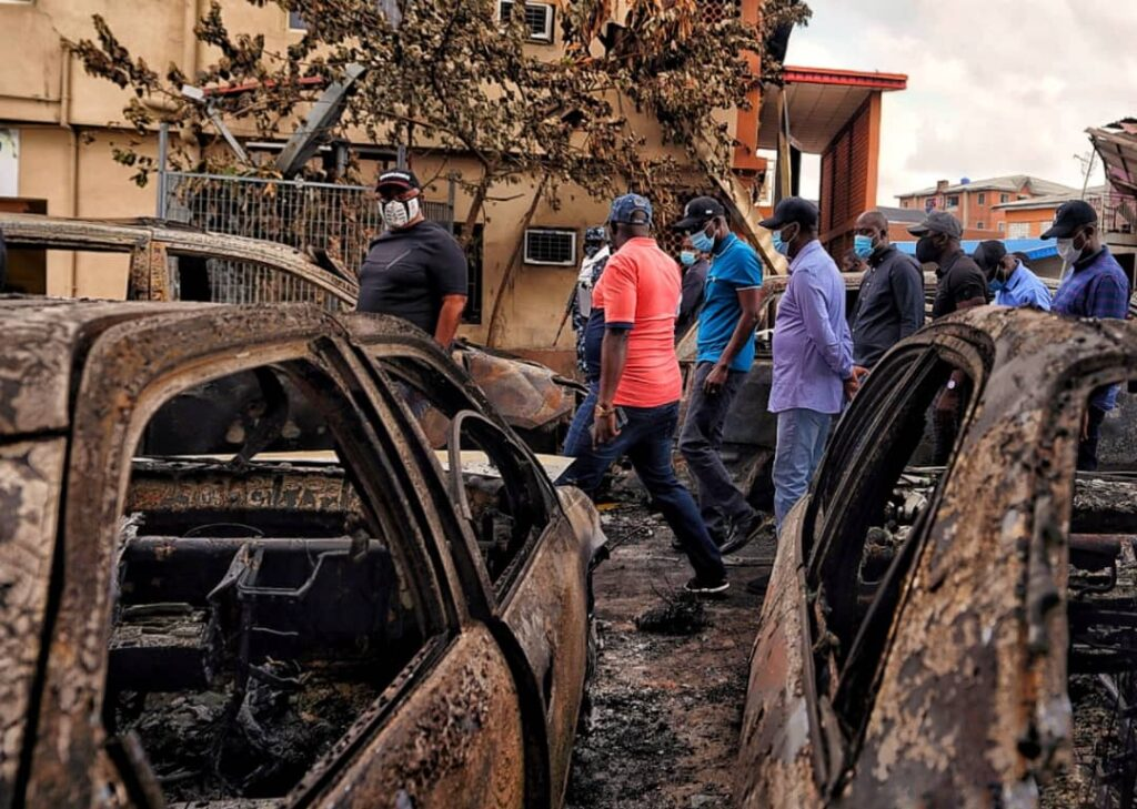 Sanwo-Olu Preaches Peace As He Inspects Govt, Private Assets Destroyed In Wednesday Coordinated Attacks 3