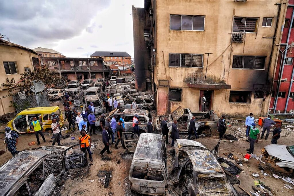 Sanwo-Olu Preaches Peace As He Inspects Govt, Private Assets Destroyed In Wednesday Coordinated Attacks 4