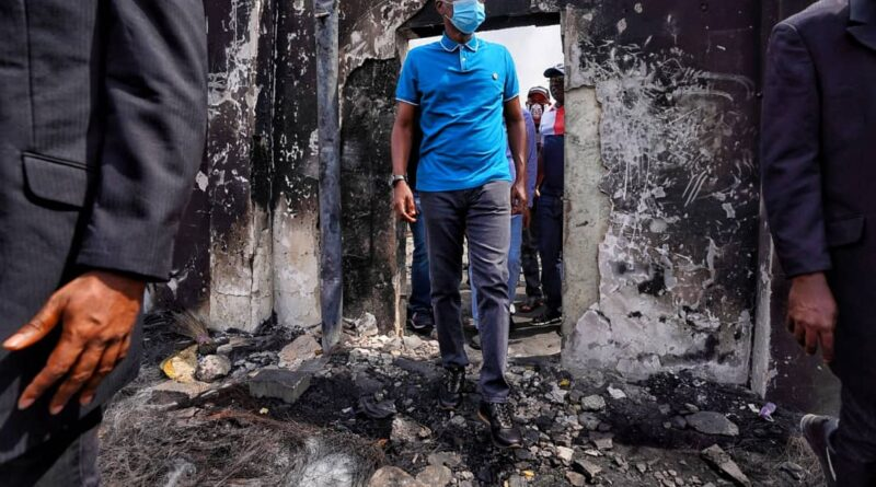 Sanwo-Olu Preaches Peace As He Inspects Govt, Private Assets Destroyed In Wednesday Coordinated Attacks 1