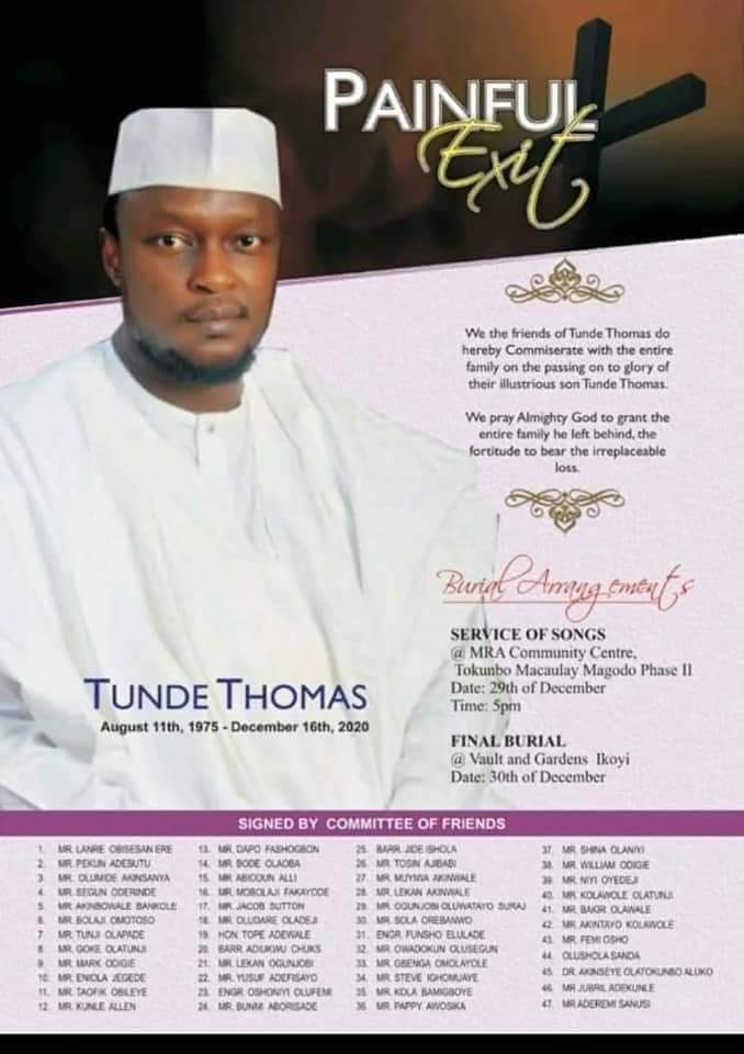 Tunde Thomas Dies After Wife Told Him Her Boss, FCMB Boss, Adam Nuru Owns Their Only Two Kids 4