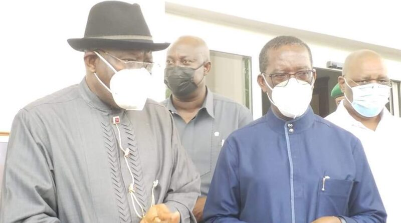 Former President Goodluck Jonathan Visits Governor Okowa Over Father's Death 1