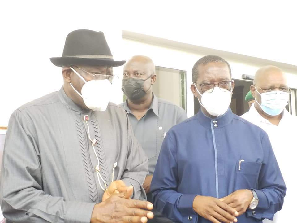 Former President Goodluck Jonathan Visits Governor Okowa Over Father's Death 2