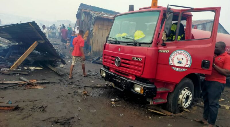 Fire Guts Okobaba Sawmill Market. Lagos State Fire Service saves Situation 1