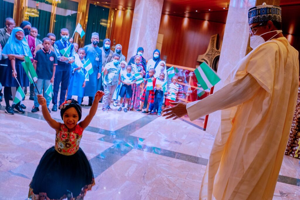 Children's Day: Buhari Celebrates With Visiting Children At State House 3