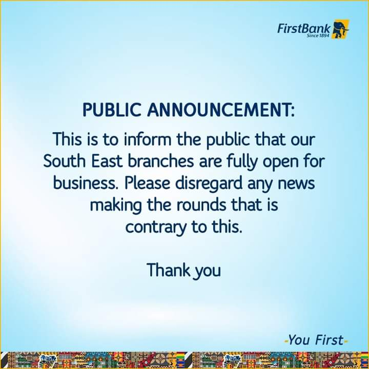 First Bank: Our Southeast Branches Are Fully Open, Disregard Contrary Information 2